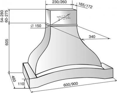 Вытяжка купольная Elikor Аркада 60 (крем/дуб неокрашенный) - схема