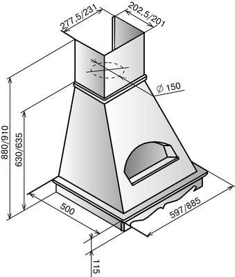 Вытяжка купольная Elikor Бельведер 90П-650-П3Г (золотой антик/дуб неокрашенный) - схема