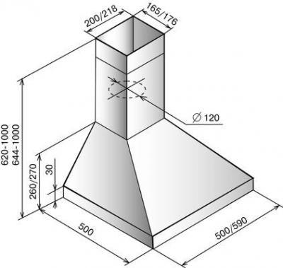 Вытяжка купольная Elikor Вента 50Н-430-П3Л (серебристый) - схема