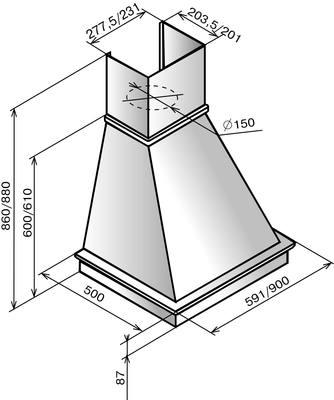 Вытяжка купольная Elikor Вилла 60П-650-П3Л (бежевый/дуб неокрашенный) - схема