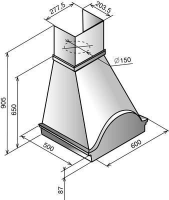Вытяжка купольная Elikor Вилла 60 (бежевый/дуб неокрашенный/фрукты) - общий вид