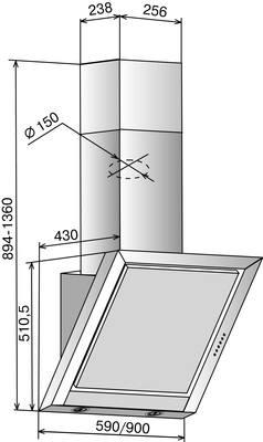 Вытяжка декоративная Elikor Гранат Glass 90 Anthracite - схема