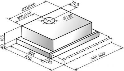 Вытяжка телескопическая Elikor Интегра 50 (белый/бук орех) - схема