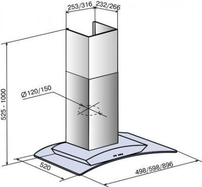 Вытяжка купольная Elikor Аметист B 90 (серебристый) - схема