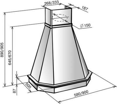 Вытяжка купольная Elikor Камин Грань 90П-650-П3Л (бежевый/дуб неокрашенный) - схема