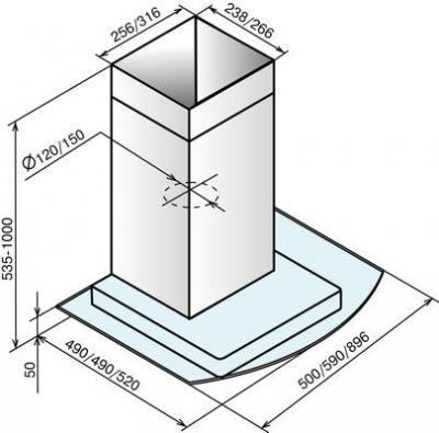 Вытяжка Т-образная Elikor Кристалл 90 (серебристый) - схема