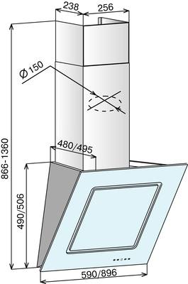Вытяжка декоративная Elikor Оникс Art 60П-1000-Е4Г (белый/сакура) - схема