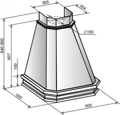 Вытяжка купольная Elikor Пергола 90 (бежевый/дуб неокрашенный) - схема