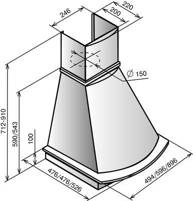 Вытяжка купольная Elikor Ротонда 90 (бежевый/дуб неокрашенный) - схема