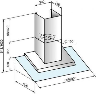 Вытяжка купольная Elikor Сапфир (90 Silver) - схема