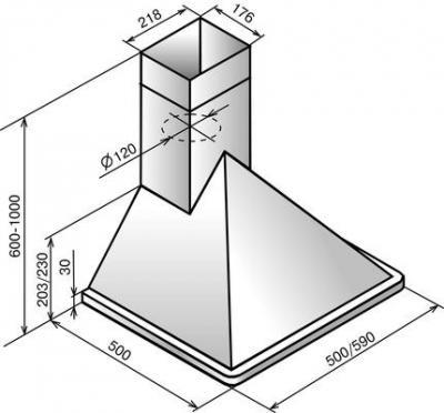 Вытяжка купольная Elikor Эверест 60 White (60 White) - схема