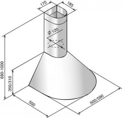 Вытяжка купольная Elikor Эпсилон 60П-430-П3Л (белый/золотая окантовка) - схема