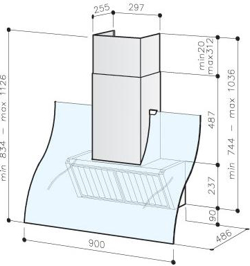 Вытяжка декоративная Best K280 90 Inox - схема