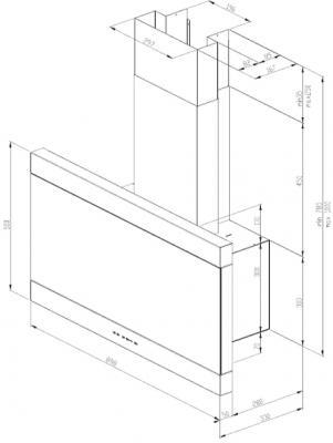 Вытяжка декоративная Best KB700  (90, нержавеющая сталь-черный) - схема