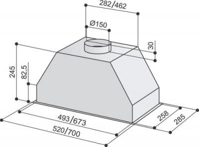 Вытяжка скрытая Best P580 (52, нержавеющая сталь) - схема