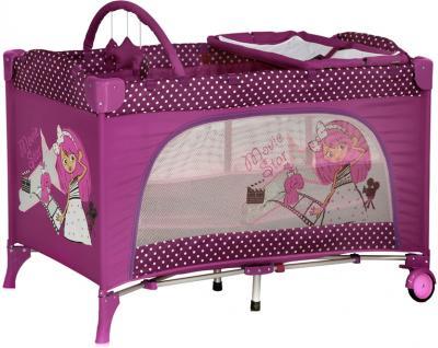 Кровать-манеж Lorelli Travel Kid 2  (Pink Movie Star) - общий вид