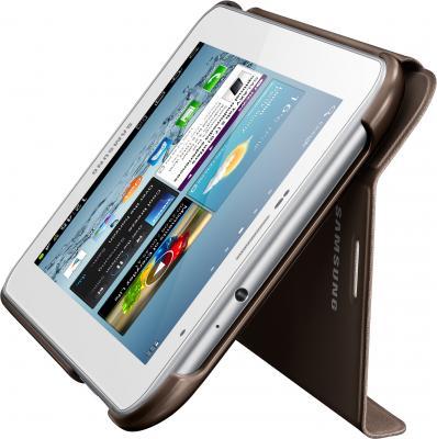 Чехол для планшета Samsung TAB 2 7.0/P3100 Brown - вид сбоку с планшетом