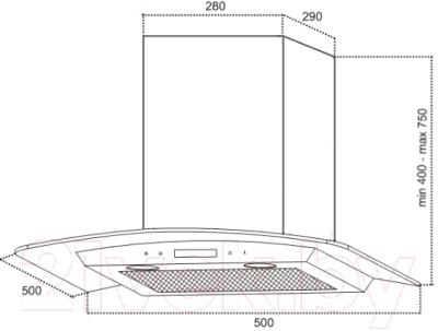 Вытяжка купольная Germes Alt Led Sensor 50 RGB (нержавеющая сталь)