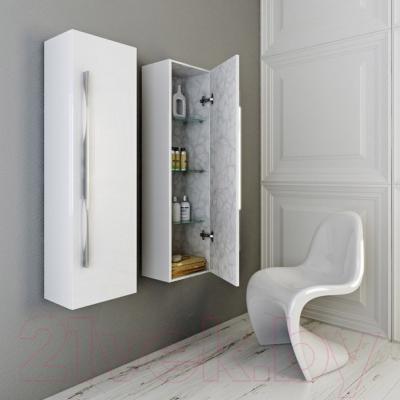 Шкаф-полупенал для ванной Aqwella Милан Mil.05.35/W (белый)
