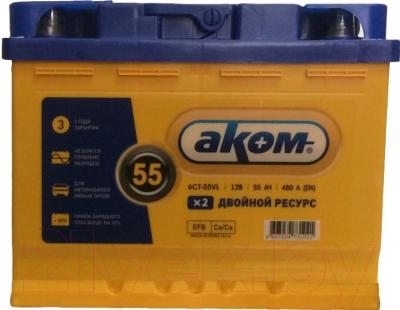 Автомобильный аккумулятор AKOM 6СТ-55 Евро EFB (55 А/ч)
