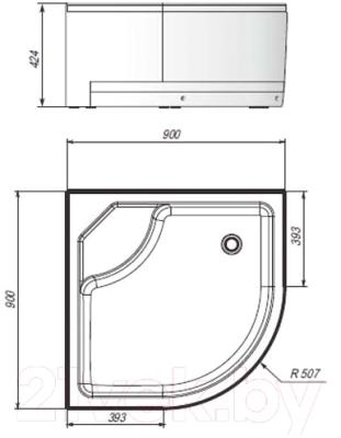 Душевой поддон Ventospa Standart Sense Deep LA 90x90