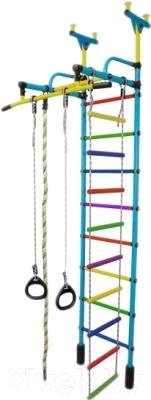 Детский спортивный комплекс Формула здоровья Жирафик-1А Плюс (голубой/радуга)