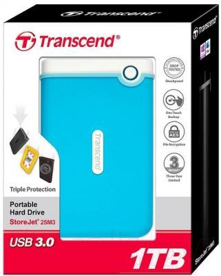 Внешний жесткий диск Transcend StoreJet 25M3 1TB (TS1TSJ25M3B)