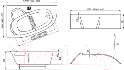 Ванна акриловая Ravak Asymmetric 150x100 R (C451000000)