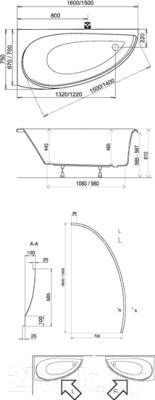 Ванна акриловая Ravak Avocado 150x75 L (CT01000000)