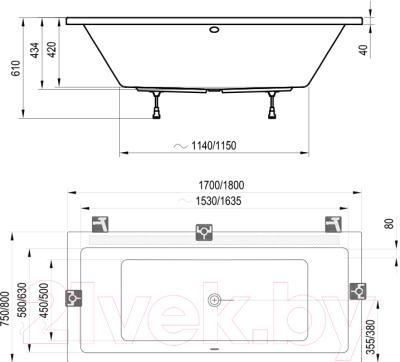 Ванна акриловая Ravak Formy 01 180x80 (C881000000)