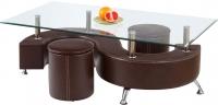 Журнальный столик Halmar Nina 3 (темно-коричневый, с пуфами) -