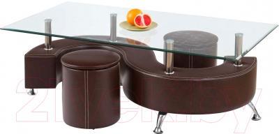 Журнальный столик Halmar Nina 3 (темно-коричневый, с пуфами)