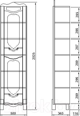 Шкаф-пенал для ванной Bliss Венеция 0461.11 (дуб молочный)