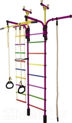 Детский спортивный комплекс Формула здоровья Гимнаст 1-Е Плюс (фиолетовый/радуга)