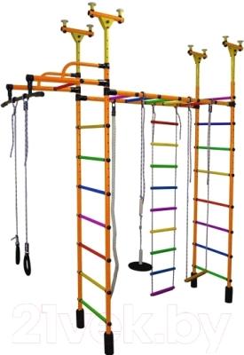 Детский спортивный комплекс Формула здоровья Слоненок-1V Плюс (оранжевый/радуга)