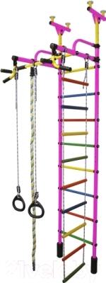 Детский спортивный комплекс Формула здоровья Жирафик-4А Плюс (розовый/радуга)
