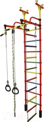 Детский спортивный комплекс Формула здоровья Жирафик-2А Плюс (красный/радуга)