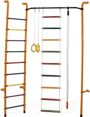 Детский спортивный комплекс Формула здоровья Робинзон-А Плюс (оранжевый/радуга)