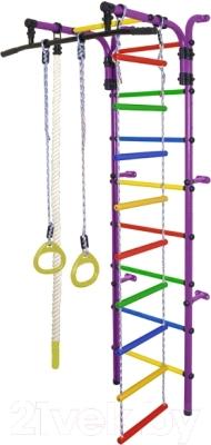 Детский спортивный комплекс Формула здоровья Орленок-1А Плюс (фиолетовый/радуга)