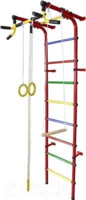 Детский спортивный комплекс Формула здоровья Непоседа-4В Плюс (красный/радуга)