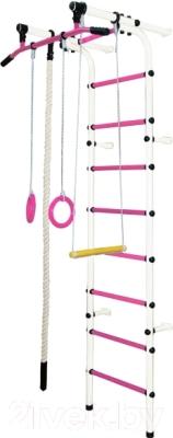 Детский спортивный комплекс Формула здоровья Непоседа-1В Плюс (белый/розовый)