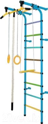 Детский спортивный комплекс Формула здоровья Непоседа-1В Плюс (голубой/радуга)