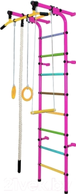 Детский спортивный комплекс Формула здоровья Непоседа-3В Плюс (розовый/радуга)