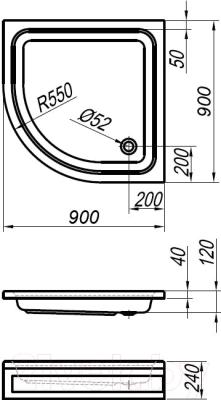 Душевой поддон Kolpa-San Ocean 90/О (+ панель)