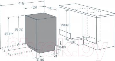 Посудомоечная машина Gorenje GDV674X - схема встраивания