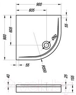 Душевой поддон Kolpa-San Eisa 90x90 (с экраном и каркасом)