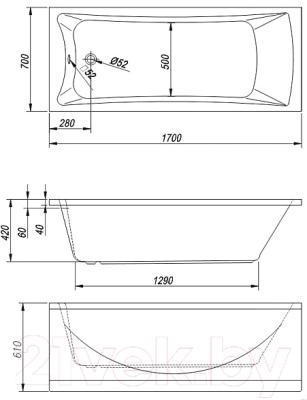 Ванна акриловая Kolpa-San Arianna 170x70 (экран + каркас + сифон)