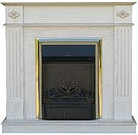 Портал для камина Смолком Brighton STD/EUG (белый дуб/патина золото) -