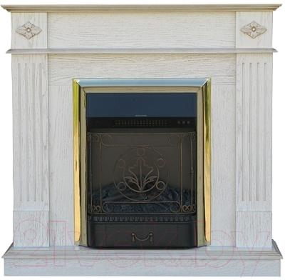 Портал для камина Смолком Brighton STD/EUG (белый дуб/патина золото)