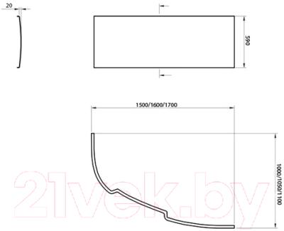 Экран для ванны Ravak Asymmetric 150 L (CZ44100000)